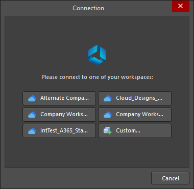 The Connection dialog is used to connect and sign in to a workspace.