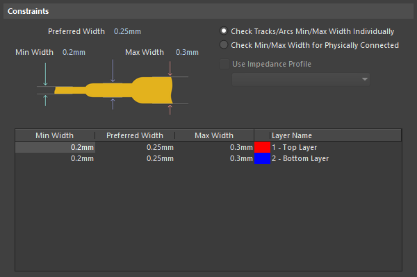 Constraints for the Width rule, which apply to all layers. Enter layer-specific values in the grid (hover the cursor over to show).