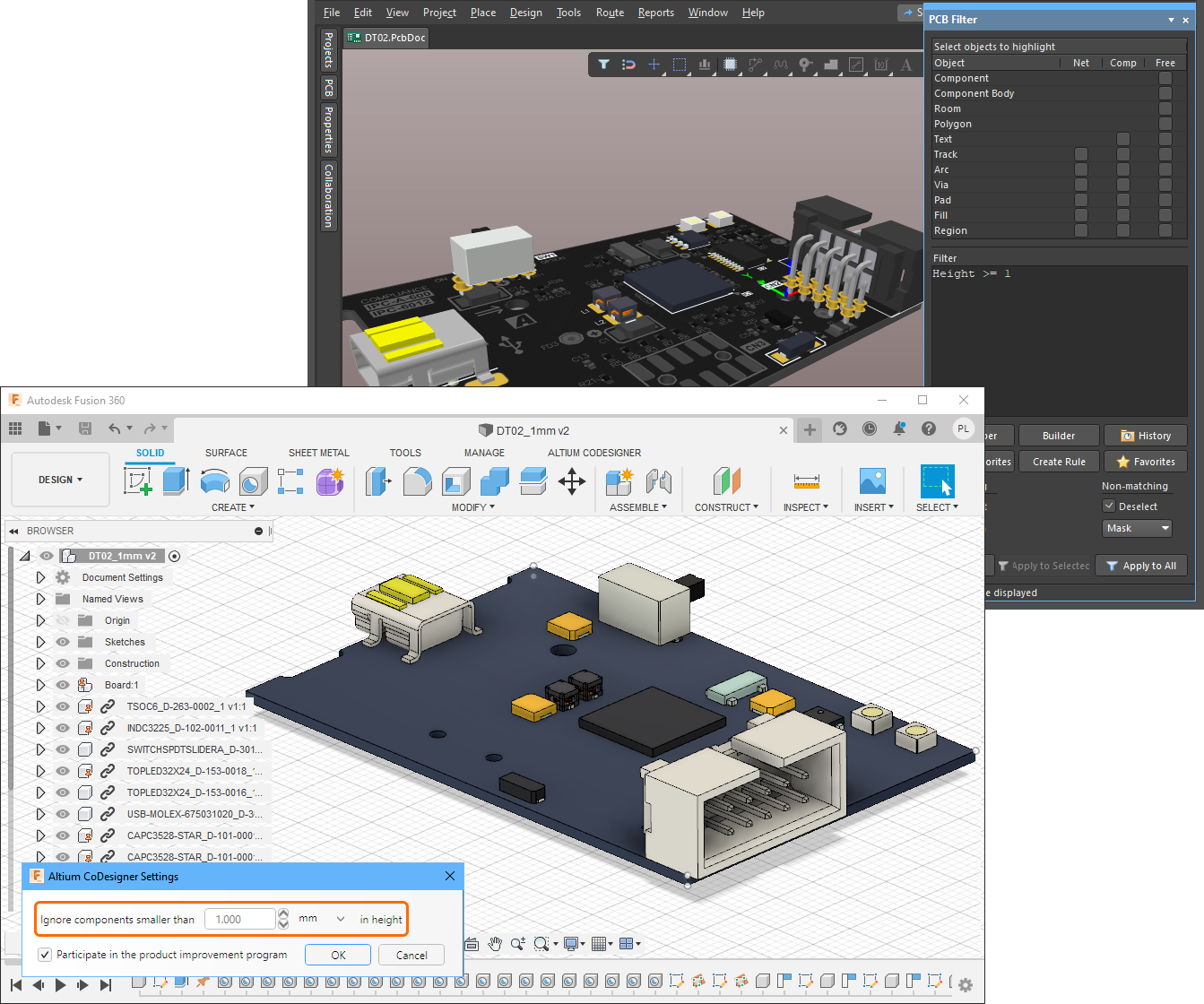 Малые компоненты теперь можно исключить при приеме платы, задав пороговое значение высоты (наведите курсор мыши на изображение, чтобы увидеть плату в ECAD).