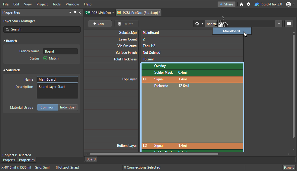 The Board mode of the Layer Stack Manager is used to define the Substacks in a rigid-flex design.