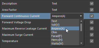 Choosing a supported unit-aware data type for a user parameter in a component template. In this example, Ampere is the parameter type.