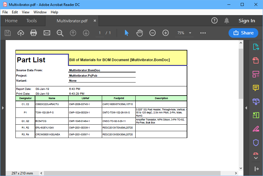 Example PDF Bill of Materials for the tutorial, generated using an Excel template