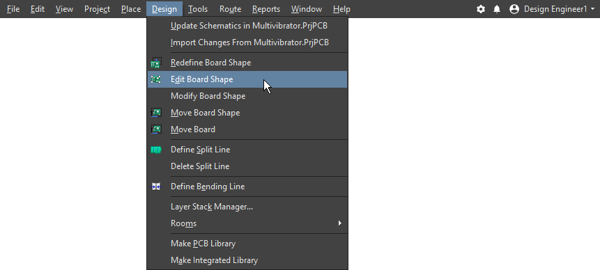 Menu command to edit the board shape