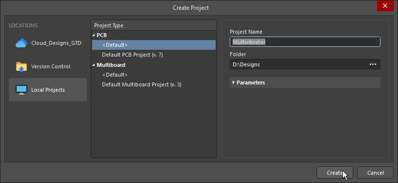 Create Project dialog
