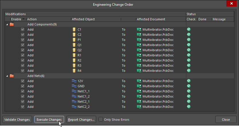 Engineering Change Order dialog