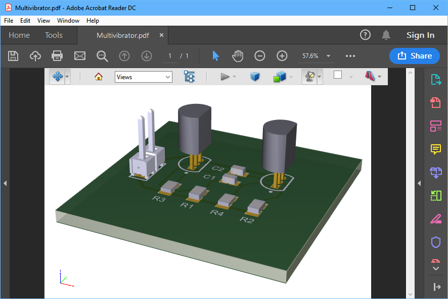 Tutorial board exported as a 3D PDF, open in Adobe Acrobat