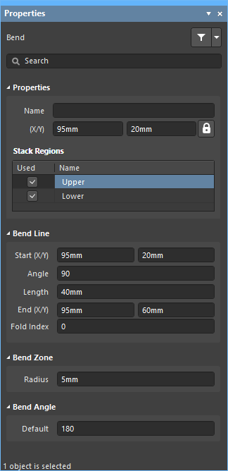 The Bending Line mode of theProperties panel