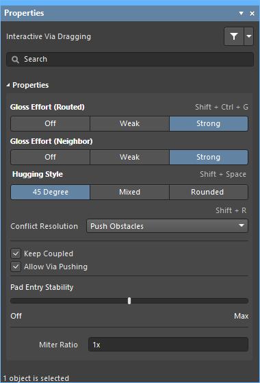Adjust the via dragging behavior in the Properties panel.