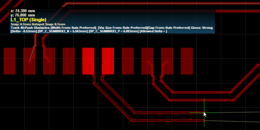 Use the Heads Up Display to check the route lengths during differential pair routing