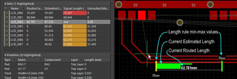 The Gauge displayed as a Length design rule is being obeyed during Interactive Routing - it shows the current Routed length as a number, the slider shows the current Estimated Length.