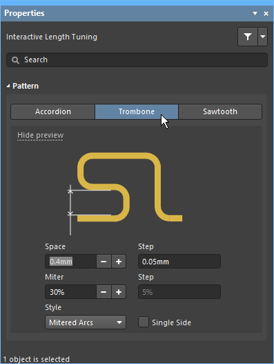 Press Tab after launching the Interactive Length Tuning command to select the pattern.