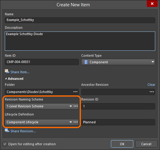 Selecting the Lifecycle Definition and Revision Naming schemes for a manually created component.