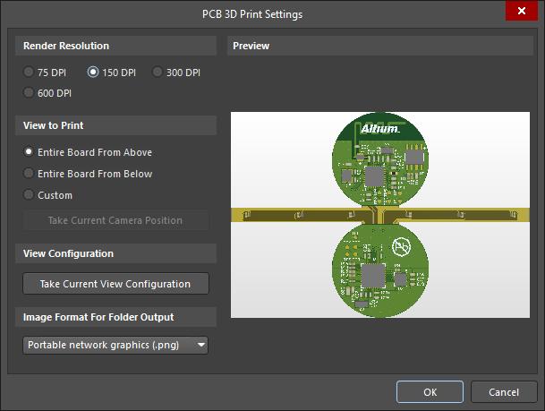 The PCB 3D Print Settings dialog