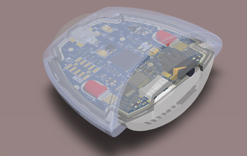 3D image showing a complex shaped board design within its enclosure