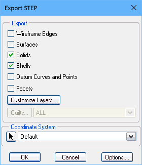 PTC Creo Export STEP dialog, configuring for STEP export