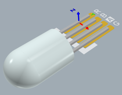 Physical LED component created from 3D Body objects