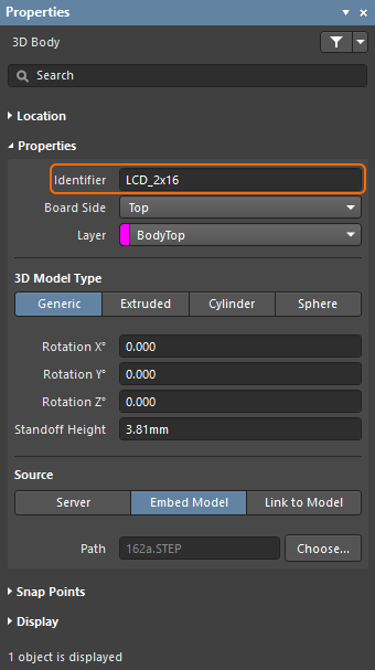 3D Body mode of the Properties panel, configuring the Identifier so it can be used to scope a design rule