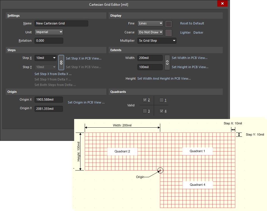 Example Cartesian grid definition, using the Cartesian Grid Editor dialog, and resulting appearance in the design space.