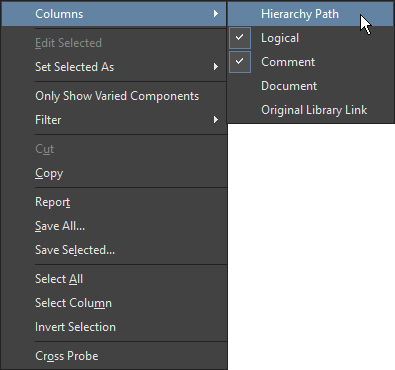 Right-click context menu, Variant Management dialog