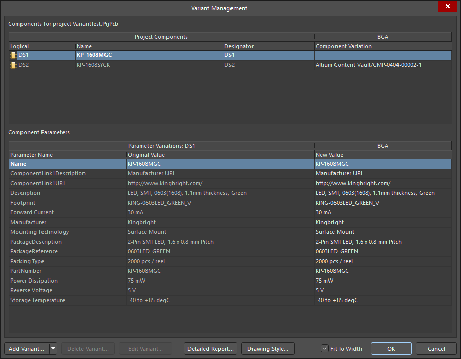 Variant Management dialog, opened to display only the components selected on the schematic