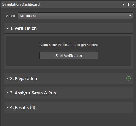 Figure 1. Simulation Dashboard panel.