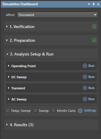 Figure 11. Analysis Setup & Run area.