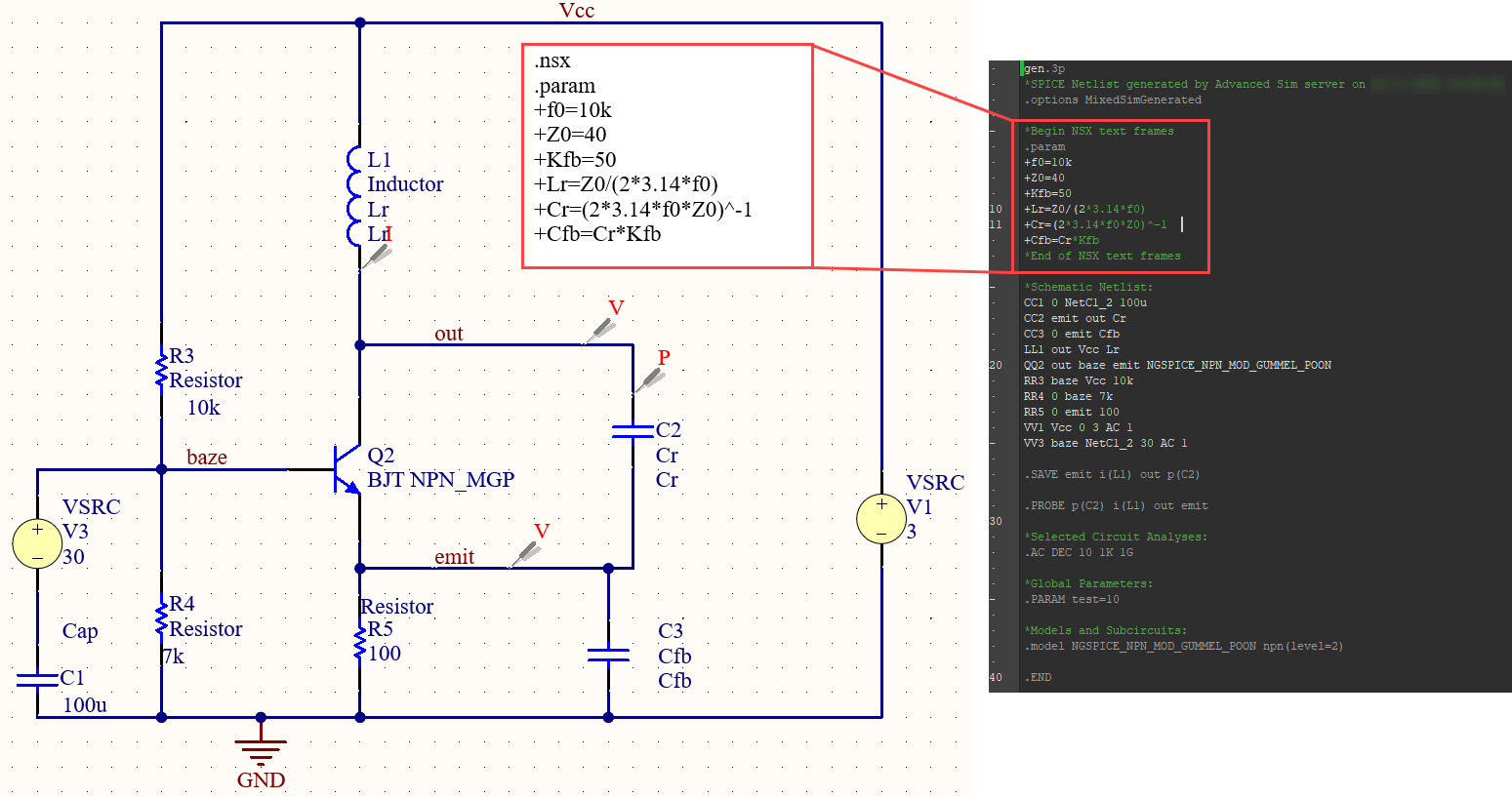 Figure 32. Display area of user SPICE code in the netlist.