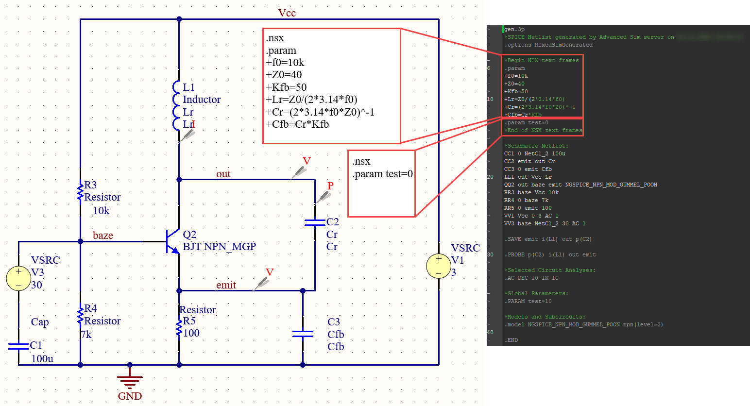 Figure 33. Display several areas of user SPICE code.