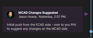 Example MCAD Changes Suggested event tile.