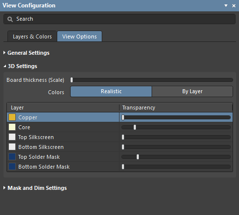 The 3D Settings section of the panel's View Options tab