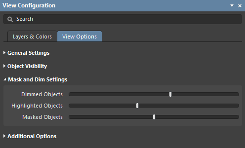 The Mask and Dim Settings section of the panel's View Options tab