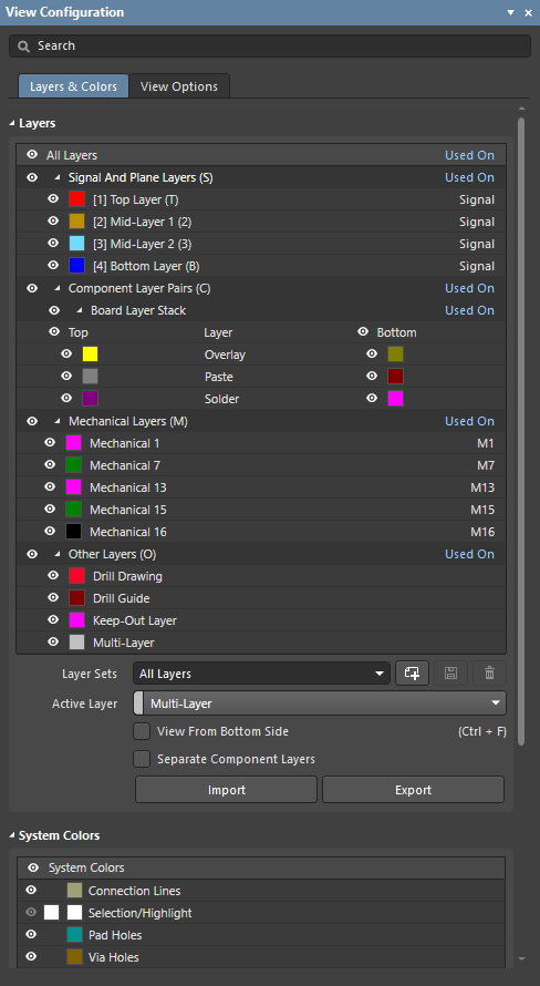 Display related settings are configured in the View Configuration panel.