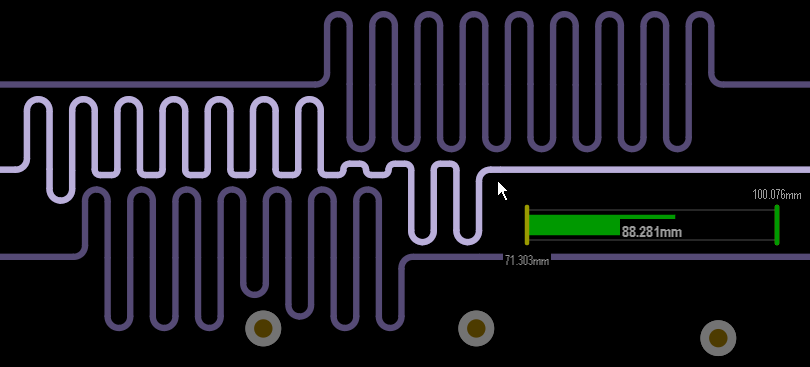 Accordion objects are added to increase the length of a route, the Net Length Gauge indicates the progress towards achieving the required target length.
