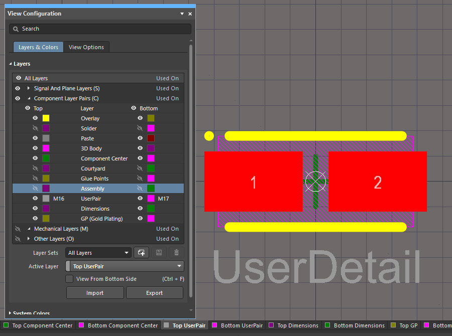 User layers with a Layer Type assigned are automatically created or mapped when the component is placed onto a board. Hover the cursor over to show the component on the board.