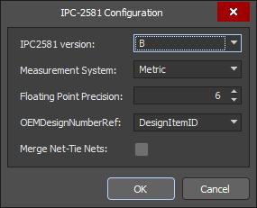 The IPC-2581 Configuration dialog