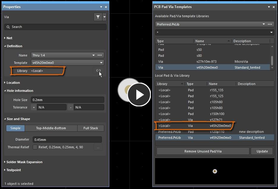 Демонстрация копирования шаблона из файловой библиотеки в локальную библиотеку для возможности редактирования свойств
