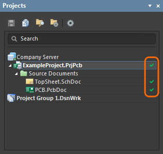 An example of a project within a local server in the Projects panel.