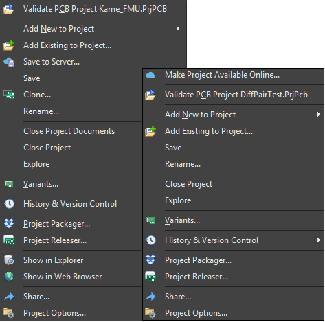 The first image shows the typical right-click menu for a server-based project, while the second image displays the typical right-click menu for a local project.