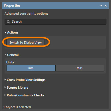 Switching back to the PCB Rules and Constraint Editor dialog from the Constraint Editor view.