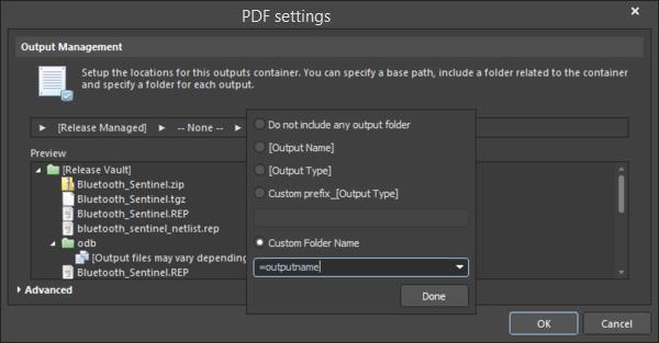 Setting theCustom Folder Nameto=outputname.