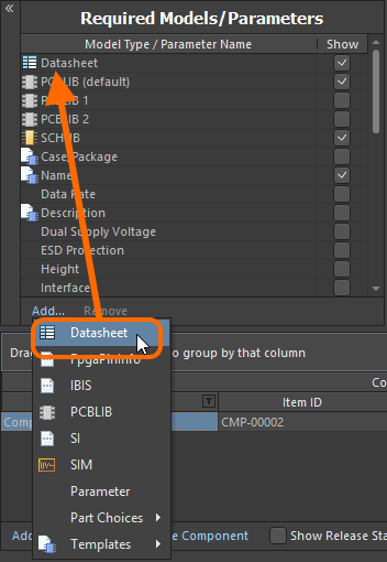 Enable the use of datasheets for components.