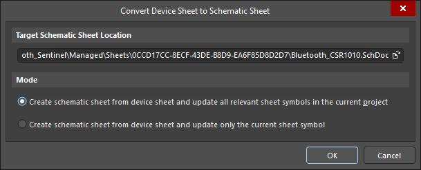 The Convert Device Sheet to Schematic Sheet dialog