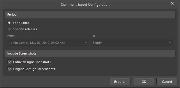 The Comment Export Configuration dialog