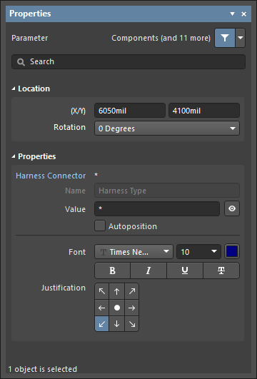 The Parameter dialog, on the left, and the Parameter mode of the Properties panel on the right