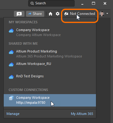 Signing in to your Concord Pro Workspace from within Altium Designer, when that Workspace is already known.