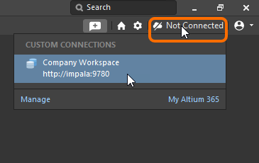 Signing in to your NEXUS Server Workspace from within Altium NEXUS, when that Workspace is already known.