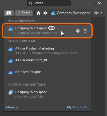 Verification of being connected to your Workspace. Shown here is an example foran Altium 365 Workspace. Hover the cursor over the image to see an example for a Concord Pro Workspace.