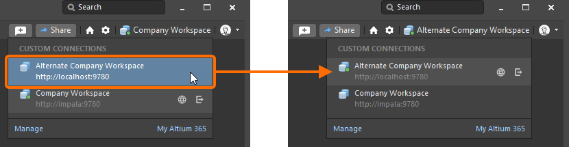 When multiple Workspace are available, you can quickly switch between them.