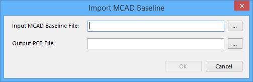 The Import MCAD Baseline dialog