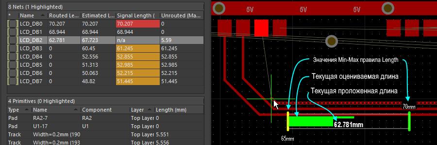 Индикатор, отображаемый для правила Length, учитываемого при интерактивной трассировке. Текущая проложенная длина отображается в виде числа, ползунок показывает текущую оцениваемую длину.